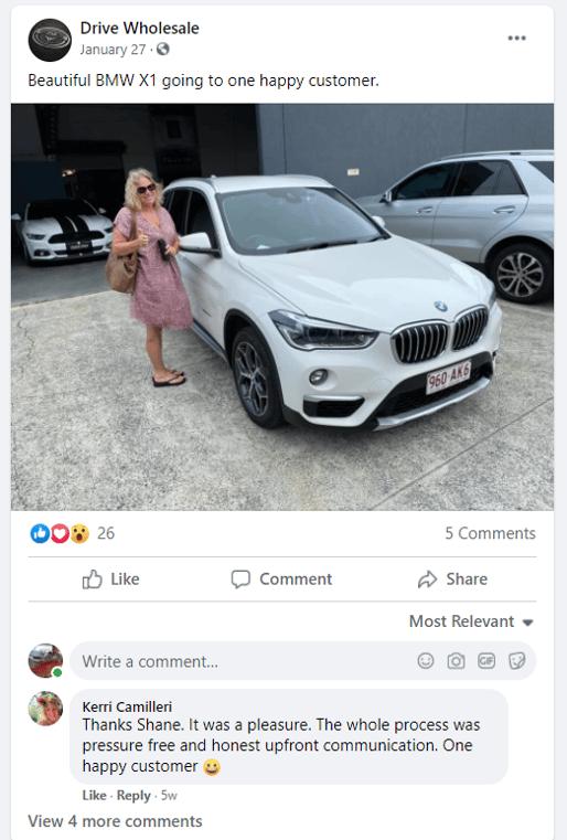 social media fb customer testimonial